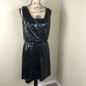 White House Black Market Black Sequin Dress 10